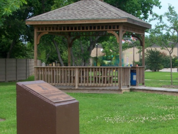 Pavilion and dedication marker