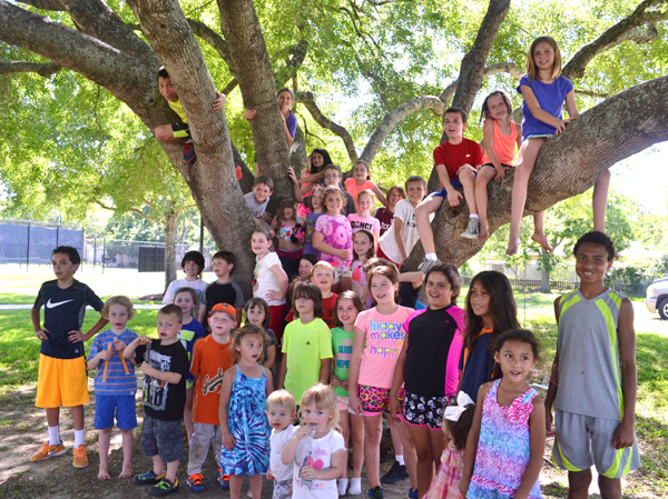 A large group of kids posing by a tree