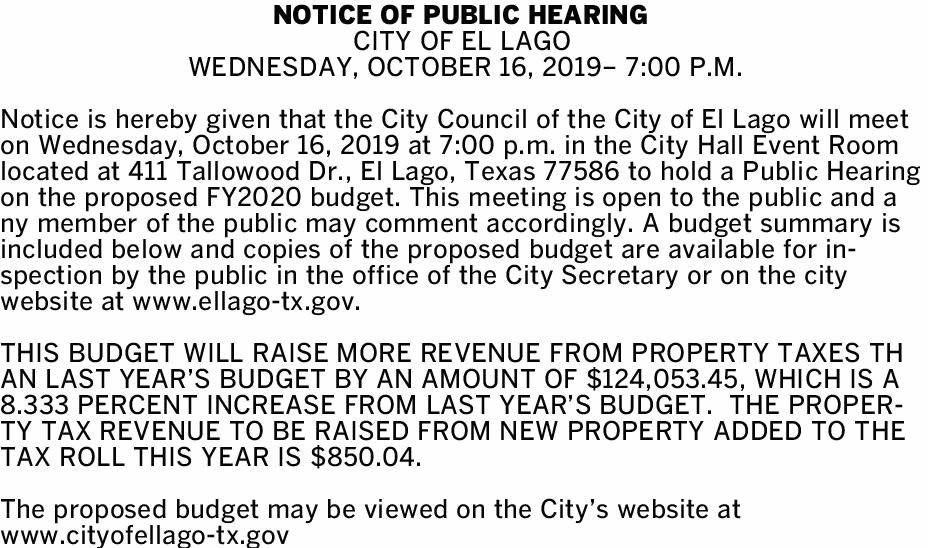 Notice of Public Hearing Wednesday, October 16, 2019 - 7:00 p.m.